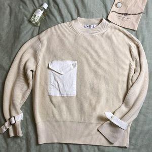 NEW Zara cream knit sweater with pocket buckle